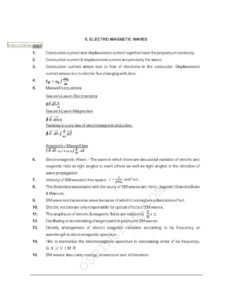 CBSE Class 12 Physics Electro Magnetic Waves chapter notes